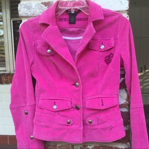 Rocawear pink corduroy jacket In the band vibe S s